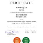 ISO 9001:2008, ISO14001:2004